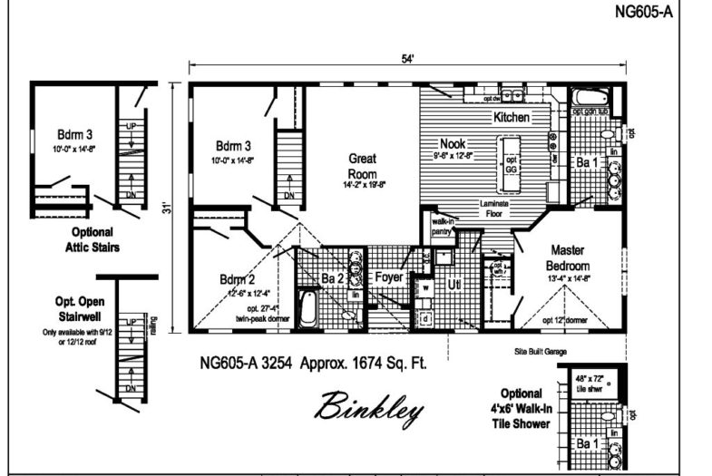 Manorwood Custom Homes Binkley NG605A Ranch Owl Homes – Manorwood Homes Floor Plans